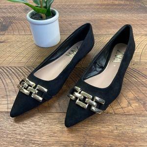 ZARA 36 black suede chain flats gold shoes womens